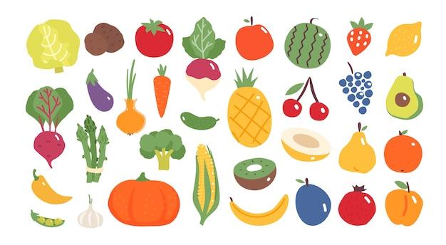 Frutas y verduras en diseño plano.