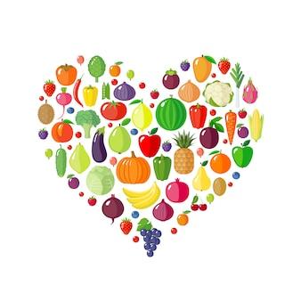 Frutas y verduras en forma de corazón.