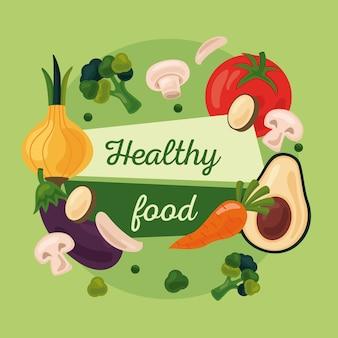 Frutas y verduras frescas alimentos saludables establecer iconos y diseño de ilustración de letras