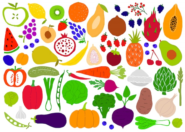 Frutas y verduras ingenuas simples grandes siluetas conjunto.