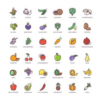 Frutas y verduras línea vector iconos con elementos planos
