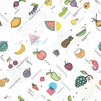 Frutas y verduras de patrones sin fisuras estilo memphis.