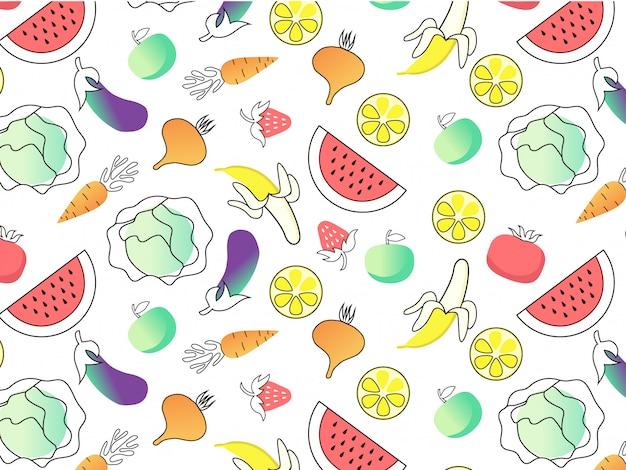 Frutas y verduras de patrones sin fisuras.