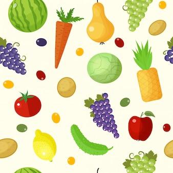 Frutas y verduras de patrones sin fisuras