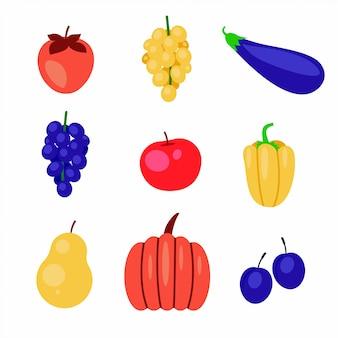 Frutas y verduras planas