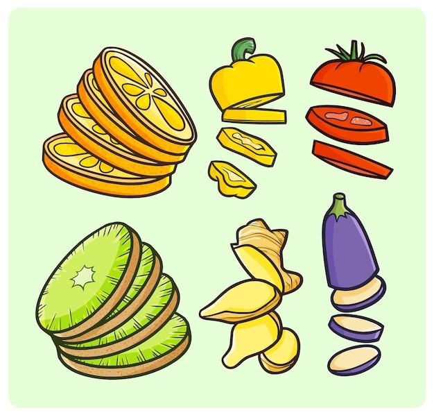 Frutas y verduras en rodajas en estilo simple doodle