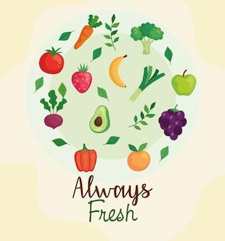 Frutas y verduras siempre frescas, concepto de comida sana