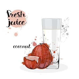 Frutas y vidrio dibujados a mano frescos de la acuarela del jugo del coco en el fondo blanco