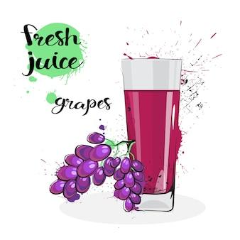 Frutas y vidrio frescos dibujados a mano de la acuarela del jugo de uvas en el fondo blanco