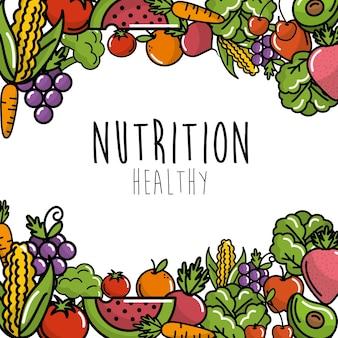 Frutas y verduras con fondo de alimentos de proteína