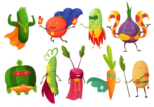Fruto de superhéroe personaje de dibujos animados afrutado de vegetales de expresión de superhéroe. divertidos personajes de calabaza, tomate, cebolla o zanahoria en la máscara. dieta vegetariana. conjunto aislado sobre fondo blanco