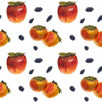Frutos de caqui de invierno en un patrón transparente blanco, acuarela