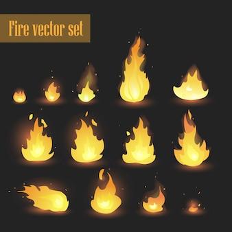 Fuego animación sprites llamas conjunto de vectores. fuego caliente e infierno explosión conjunto de vectores. - vector