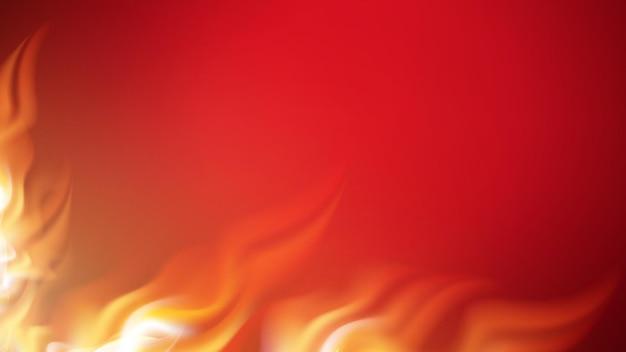 Fuego ardiente con lenguas de llama vector de espacio de copia
