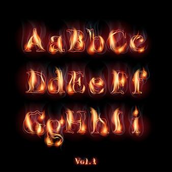 Fuego ardiente letras del alfabeto latino.