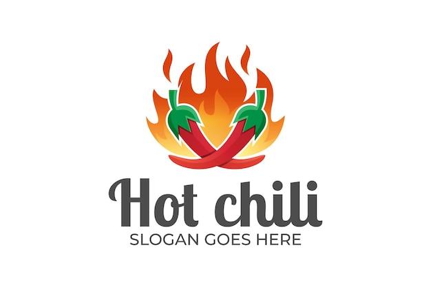 Fuego de chile picante, comida a la parrilla, picante para el logotipo del restaurante de comida caliente