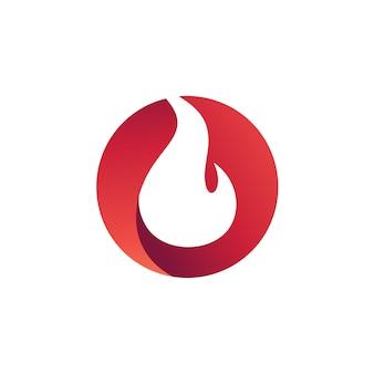 Fuego en círculo logo vector