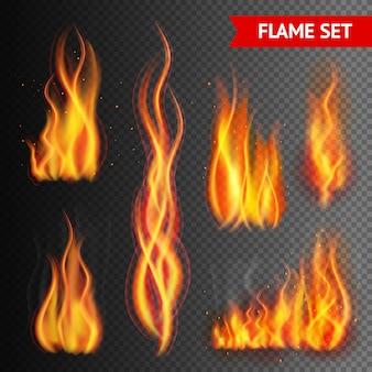 Fuego en el fondo transparente