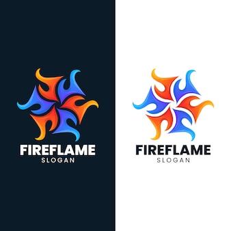 Fuego hielo llama resumen resplandor caliente logo