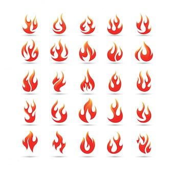 Fuego llamas vector logo conjunto
