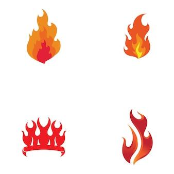Fuego logo plantilla llama clipart símbolo icono vector