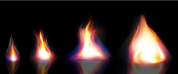 Fuego realista, elementos llama y chispas.