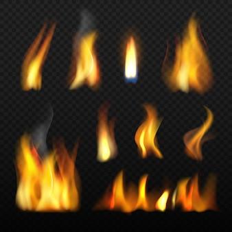Fuego realista rojo naranja lengua de fuego ardiente colección 3d sobre fondo transparente