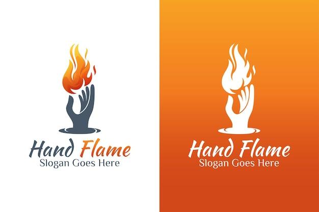 Fuego retro vintage o logotipo de cuidado de energía de llama y mano para valentía, cuidado de fuego, símbolo de llama de antorcha