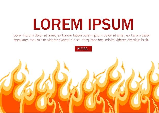 Fuego rojo en estilo de dibujos animados. página del sitio web y móvil