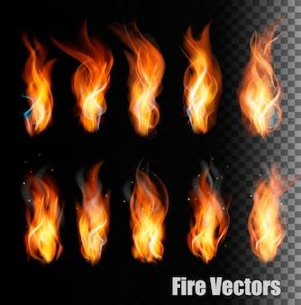 Fuego s sobre fondo transparente.