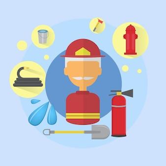Fuego senior hombre bombero worker icon flat