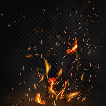 Fuego volando chispas