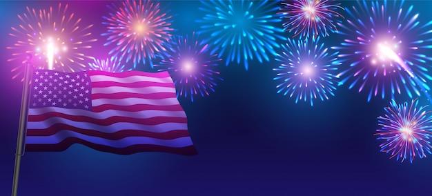 Fuegos artificiales para el 4 de julio día de la independencia. fuegos artificiales y bandera