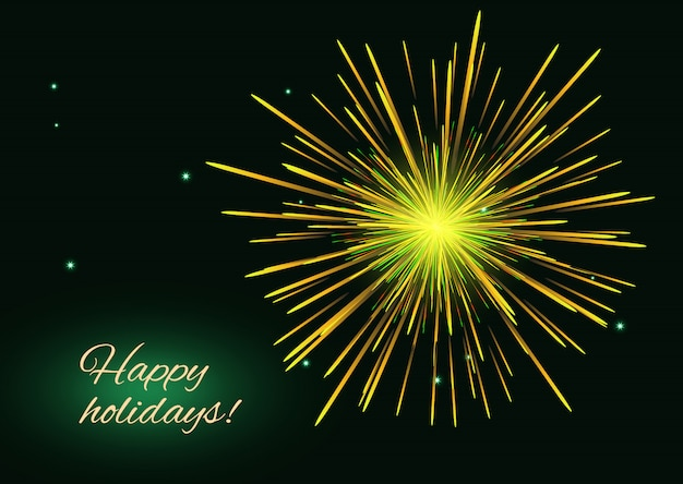 Fuegos artificiales amarillos, verdes y dorados sobre cielo estrellado, tarjeta de felices fiestas