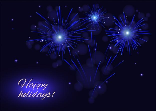 Fuegos artificiales azules sobre cielo estrellado, tarjeta de felices fiestas