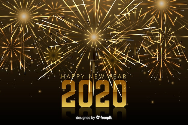 Fuegos artificiales brillantes para el evento de año nuevo 2020