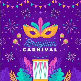 Fuegos artificiales de carnaval brasileño de diseño plano