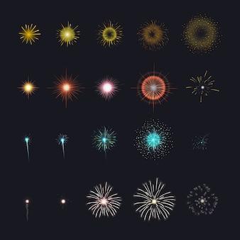 Fuegos artificiales de celebración para animación. diferentes etapas de petardo en fondo negro.
