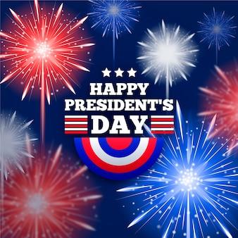 Fuegos artificiales para la celebración del día de los presidentes