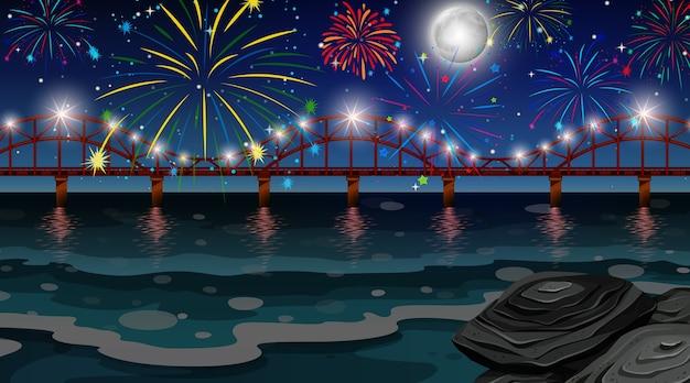 Fuegos artificiales de celebración con escena de puente.