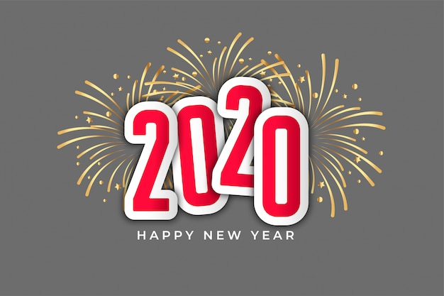 Fuegos artificiales de celebración de feliz año nuevo 2020