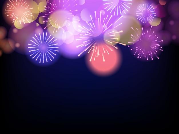 Fuegos artificiales de celebración sobre un fondo morado
