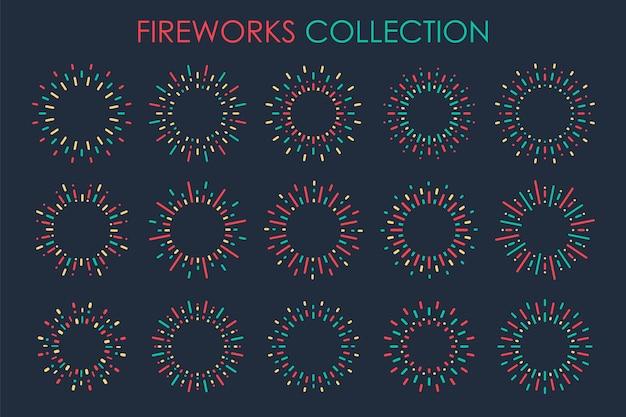 Fuegos artificiales coloridos que estallaron desde el centro en la celebración del año nuevo. aislado en el fondo.