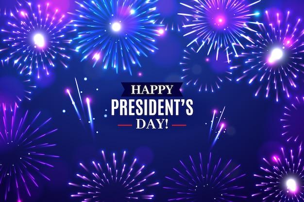 Fuegos artificiales del día del presidente con saludo