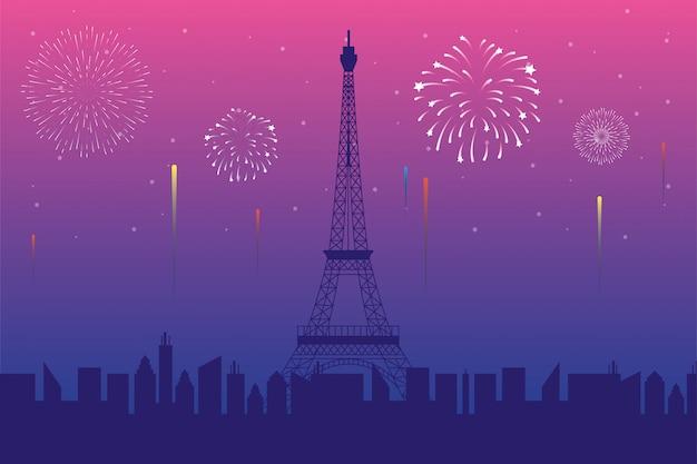 Fuegos artificiales estallan explosiones con la escena de la ciudad de parís en fondo rosa