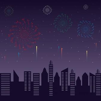 Fuegos artificiales estallan explosiones con paisaje urbano en la noche