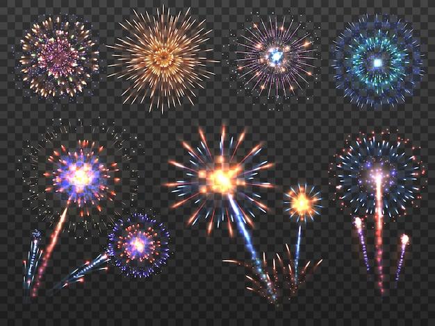 Fuegos artificiales. explosión de fuegos artificiales de vacaciones en la noche, chispas de petardo. feliz año nuevo vector decoración conjunto aislado
