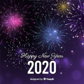 Fuegos artificiales feliz año nuevo 2020
