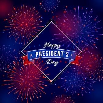 Fuegos artificiales de fondo el día del presidente