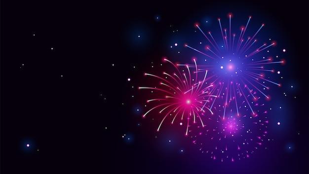 Fuegos artificiales con fondo de vector de ilustración de noche estrellada